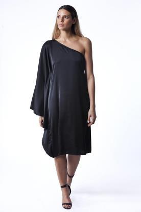 שמלת ערב שרוולים אסימטרים