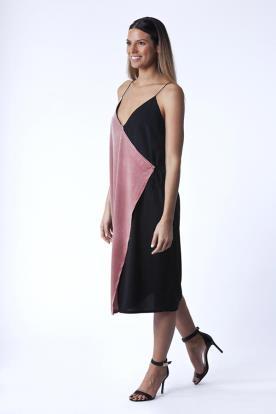 שמלת ערב בשילוב צבעי שחור וורוד