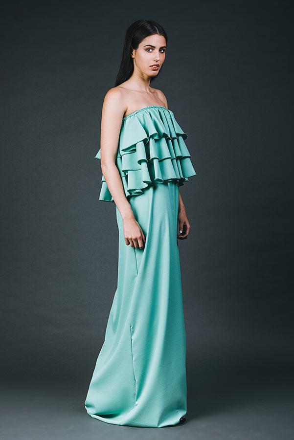 שמלת ערב מלמלות סטרפלס