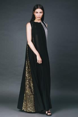 שמלת ערב שחור וזהב