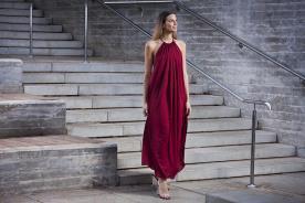שמלת ערב אדומה קולר