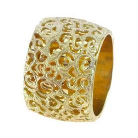 טבעת נישואין רחבה בסגנון תחרה