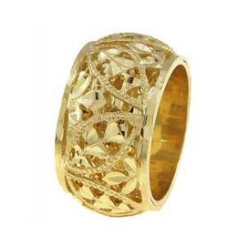 טבעת נישואין דוגמת פרחים ועלים