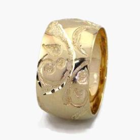 טבעת נישואין ריקועי עלים