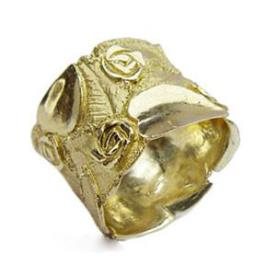 טבעת נישואין פרחים בסגנון גולמי