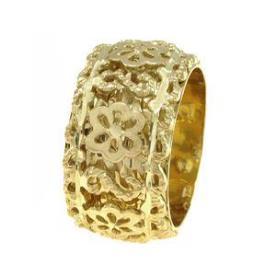 טבעת נישואין פרחי זהב צהוב