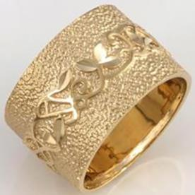 טבעת נישואין עיטור פרחים ועלים
