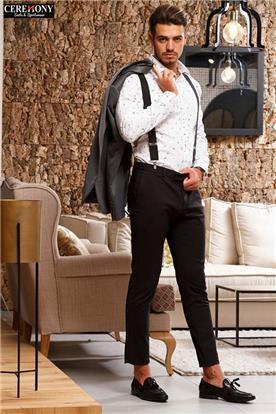חליפה כהה עם חולצה לבנה