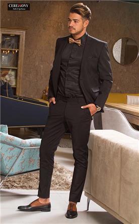 חליפת חתן שחורה סקיני מעוצבת