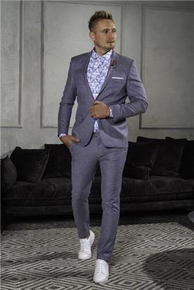 חליפת חתן: קולקציית 2019, חליפת שני חלקים, חליפה בגזרה ישרה, חליפה בדוגמה חלקה, חליפה בצבע אפור - סרמוני חליפות Ceremony