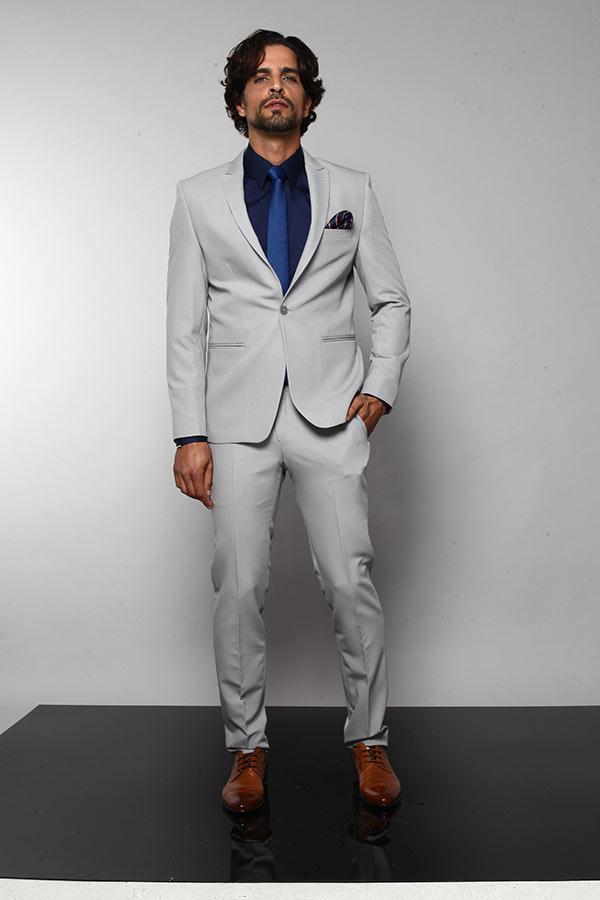 חליפת חתן אפורה בהיר וכחול