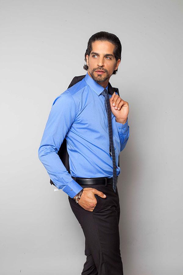 חליפת חתן חולצה כחולה מכופתרת