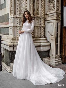 שמלת כלה: קולקציית 2019, שמלה בסגנון צנוע, שמלה עם תחרה, שמלה עם מחשוף, שמלה עם שרוולים, שמלה בצבע לבן - A&G Wedding Dresses