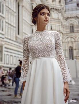 שמלת כלה: קולקציית 2019, שמלה בסגנון צנוע, שמלה עם תחרה, שמלה עם שרוולים, שמלה בצבע לבן - A&G Wedding Dresses