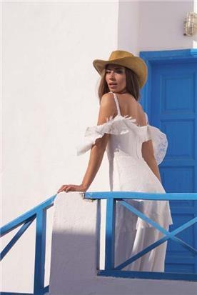 שמלת כלה: קולקציית 2019, שמלה עם כתפיות דקות, שמלה בסגנון רומנטי, שמלה עם תחרה, שמלה עם גב חשוף, שמלה בצבע לבן - A&G Wedding Dresses