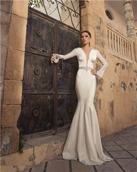 שמלת כלה בדגם בת ים ללא תחרה
