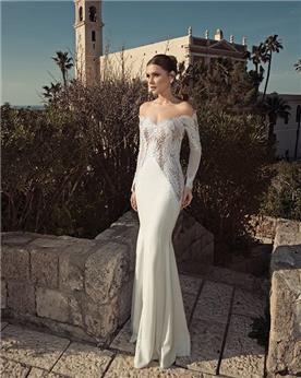 שמלת כלה בדגם דרופ-שולדר