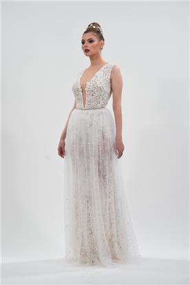 שמלת כלה או ערב: שמלה בסגנון נועז, שמלת שני חלקים, שמלה עם תחרה, שמלה עם טול, שמלה בצבע קרם, קולקציית 2017 - אמורה שיר צדוק-AMOR'E BY shir zadok