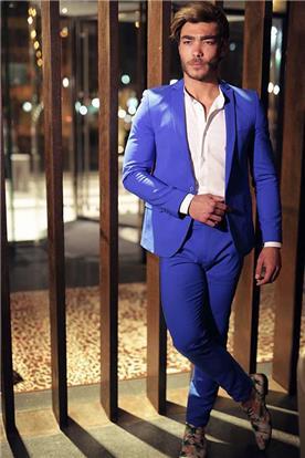 חליפת חתן: חליפת שני חלקים, חליפה בגזרה ישרה, חליפה בדוגמה חלקה, חליפה בצבע כחול, קולקציית 2017 - דון אמור
