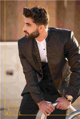 חליפת חתן: חליפה בגזרה רחבה, חליפה בדוגמה חלקה, חליפה בצבע שחור - ANEEL FOR MEN חליפות חתן