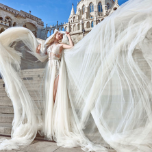 שמלת כלה קצרה נועזת תחרה שמנת