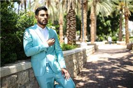 חליפת חתן: חולצה, חליפה בצבע תכלת, חליפת שני חלקים, חליפה בגזרת סקיני, חליפה בדוגמה חלקה, קולקציית 2017 - ישמחתני-חליפות חתן