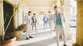 חליפת חתן: קולקציית 2018, חליפה בצבע תכלת, חליפה בגזרה ישרה, חליפה בדוגמה חלקה, חליפה בצבע אפור - ישמחתני-חליפות חתן