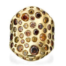 טבעת זהב רחבה עם אבנים
