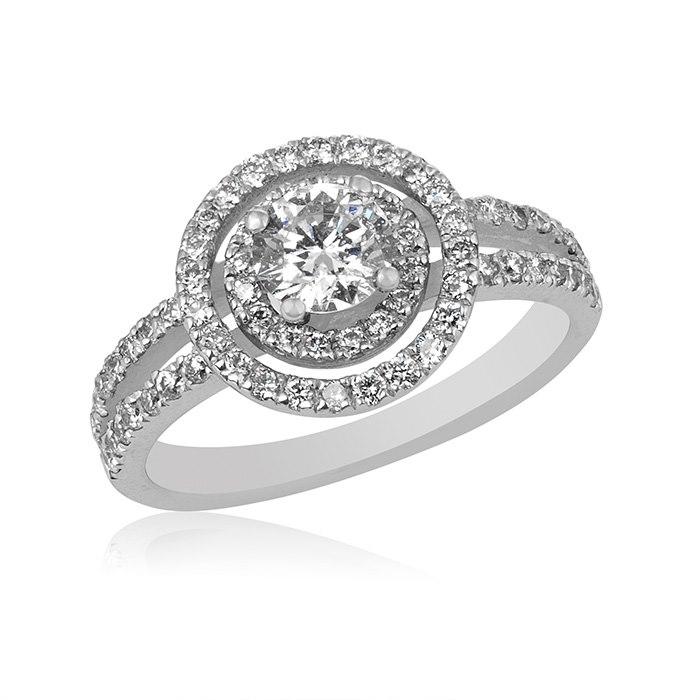 טבעת זהב לבן עם יהלומים