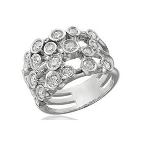 טבעת זהב לבן עם עיגולי יהלומים