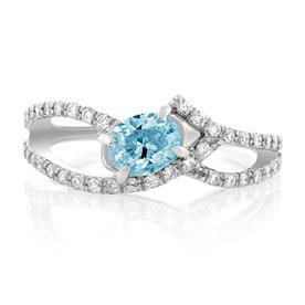 טבעת אירוסין משובצת יהלום ואבן חכולה