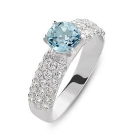 טבעת אירוסין עבה עם אבן כחולה