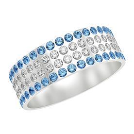 טבעת זהב לבן משובצת