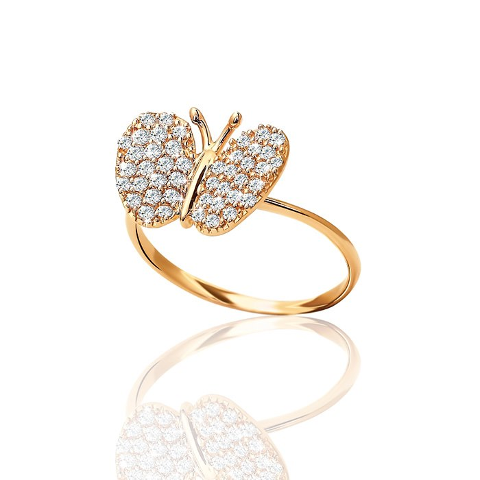 טבעת זהב עם פרפר