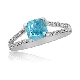 טבעת אירוסין עם יהלום תכלת