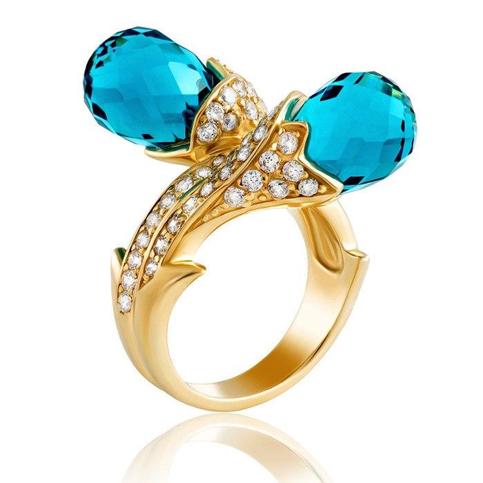 טבעת אירוסין עם 2 אבנים כחולות