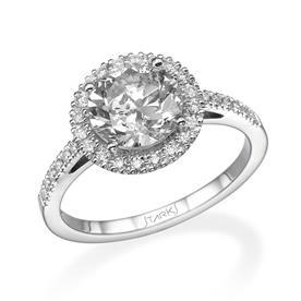 טבעת זהב לבן אבן גדולה עגולה