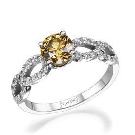 טבעת זהב לבן עם אבן צהובה