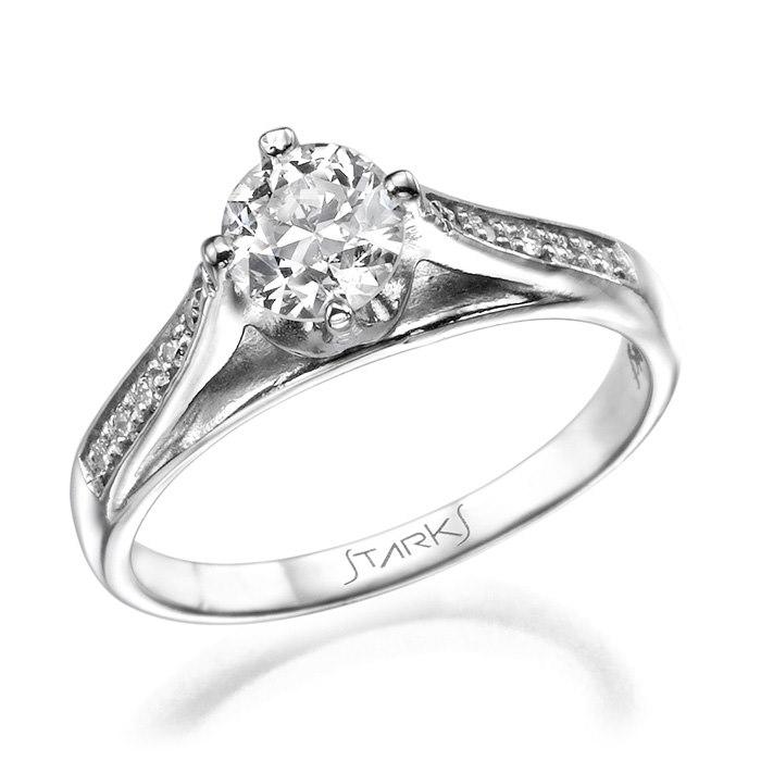 טבעת זהב לבן אבן קלאסי