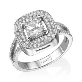 טבעת זהב לבן אבן מרובעת