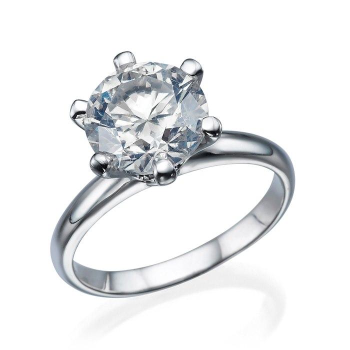טבעת זהב לבן עם אבן עגולה