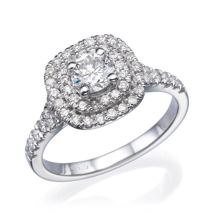 טבעת זהב לבן עם אבן מרובעת