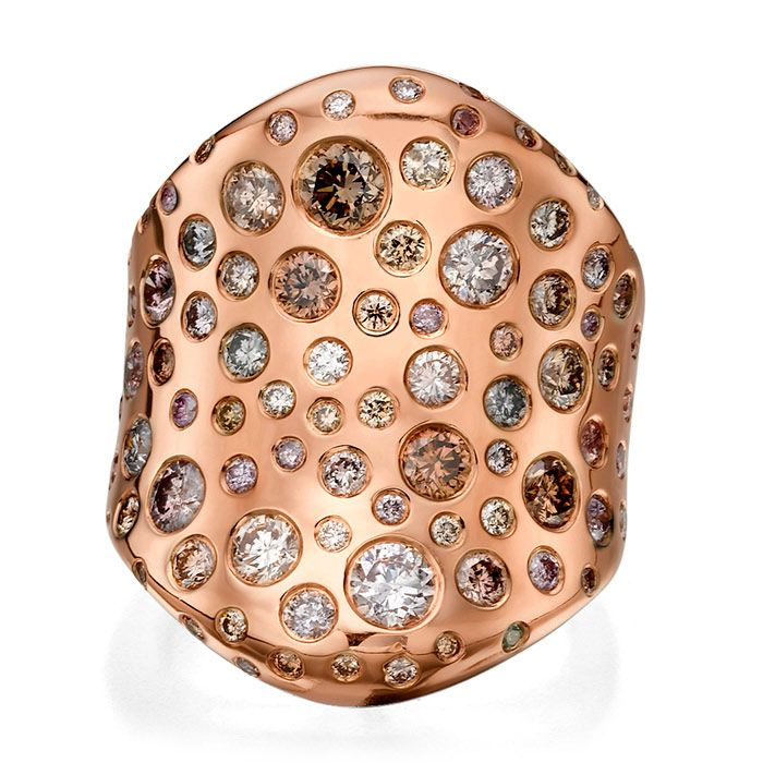 טבעת זהב אדום רחבה עם אבנים