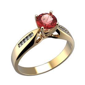 טבעת זהב אבן אדומה
