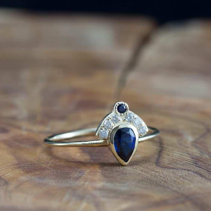 טבעת ספיר אבן גדולה