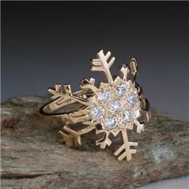 טבעת מעוצבת פתית שלג יהלום