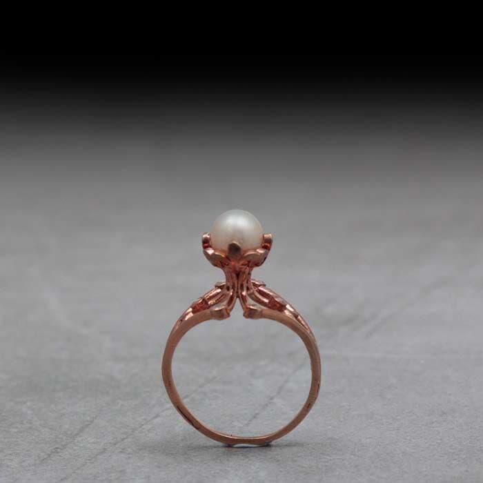טבעת וינטג זהב אדום ופנינה