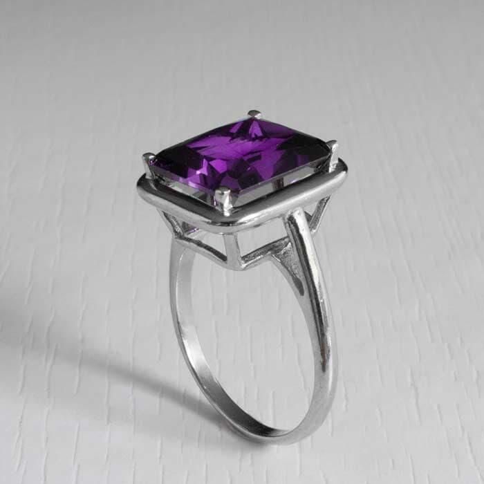 טבעת אבן קוורץ סגול