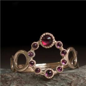 טבעת מעוצבת עיגולים רובי
