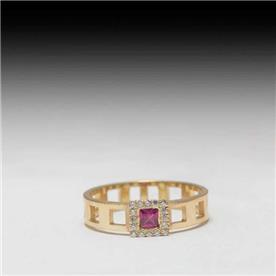 טבעת ריבועים רובי